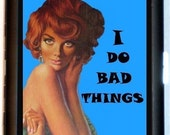 Bad Girl Cigarette Case I Do Bad Things Pin-Up Girl Pulp Naughty Rockabilly Retro Humor Rebel ID Business Card Credit Card Holder Wallet