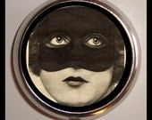 Masked Flapper Pill Box Case Pillbox Holder for Vitamins Drugs Medication Pinup Pin Up Art Deco Fetish Sexy Masquerade Mysterious Woman