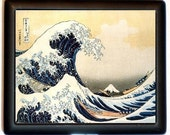 Great Wave Cigarette Case Business Card Holder Wallet Japanese Japan Woodblock Hokusai Asian Art Landscape