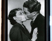 Kissing Couple with Medical Face Masks Cigarette Case Business Card Case Wallet Weird Strange Odd Retro 1950's Hypochondriac