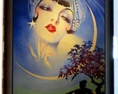 Moon Gypsy Cigarette Case Flapper Crescent Moon Art Deco Artwork Jazz Age Roaring 20's ID Business Card Credit Card Holder Wallet