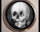 "Skull Illusion Pill box ""All is Vanity""  Pillbox Case Metamorphic Skull Goth Gothic Victorian birth control case Vitamin Box"