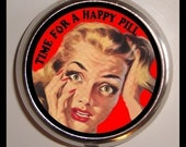 Time For a Happy Pill  PillBox PillCase Medicine Organizer Retro