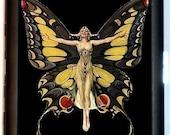 Art Deco Butterfly Cigarette Case Flapper Roaring 20's Butterfly Woman Art Nouveau Follies ID Business Card Credit Card Holder Wallet