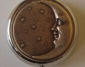 Victorian Goth Edwardian Art Nouveau Man in the Moon half moon Pill Case Or Trinket Box birth control case