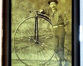 Victorian High Wheel Bicycle Rider Cigarette Case or ID Wallet Business Card Case Penny-Farthing Bone Shaker Bicycle