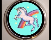 Unicorn Pill Box Rainbow Retro 1980's Pillbox Kitsch Kawaii Case Holder for Vitamins Drugs Birth Control Guitar Picks 80s Animal Art Horses