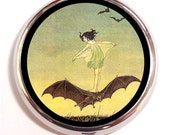 Girl Riding Bat Pill Box case Art Nouveau Pillbox Fairy Tale Storybook Trinket Box Vitamin Holder Medicine Box birth control Case Bat Rider
