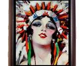 Indian Maiden Cigarette Case Headdress Native American Business Card Case wallet Flapper Art Deco Art Nouveau