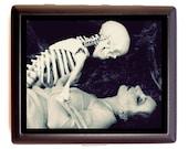 Skeleton Romance Cigarette Case Flapper Art Deco Woman Necromance Goth Dark Art Nouveau Erotic ID Business Card Credit Card Holder Wallet
