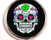 Sugar Skull Pill Box Pillbox Case Trinket Box Vitamin Holder Goth Tattoo Mexican Day of the Dead Dia Los Muertes birth control case