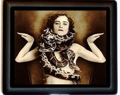 Snake Charmer Cigarette Case or Business Card Case Wallet Vintage Sexy Gypsy Woman Circus Sideshow