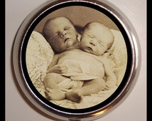 Siamese Twins Pill box Pillbox Case Holder Sweetheartsinner Two Headed Baby Conjoined Medical Oddity Sideshow Circus Vitamins Guitar Picks