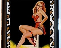 Leopard Pin-Up Cigarette Case Pin Up Girl Rockabilly Lingerie Retro 1950's Sexy Risque ID Business Card Credit Card Holder Wallet