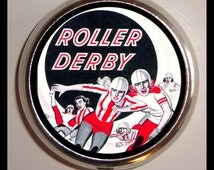 Retro Roller Derby Pill box Retro 50's Advertising Decal Pillbox Case Holder Skating