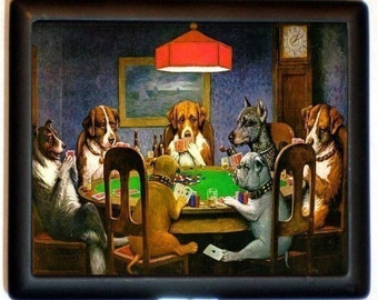 Dogs Playing Poker Cigarette Case or Wallet or Business Card case