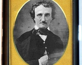 Edgar Allan Poe Daguerreotype Cigarette Case Antique Photography Goth Author The Raven Writer ID Business Card Credit Card Holder Wallet