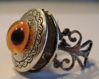 Victorian Steampunk OCULA CITRUSA Orange Glass Eye Locket Ring