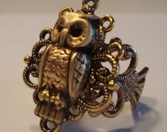 Victorian Steampunk NOCTUA Brass Owl Ring