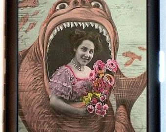 Art Nouveau Photo Booth Giant Fish Cigarette Case Edwardian Carnival Whimsical Fantasy Art Deco ID Business Card Credit Card Holder Wallet
