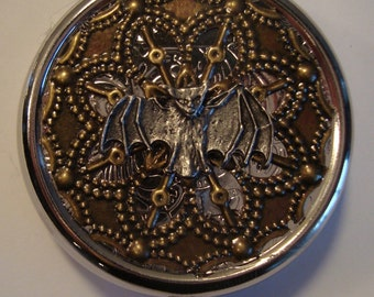 THE SILVER BAT Steampunk Victorian Pill Case or Trinket Box New