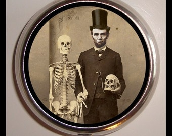 Abe Lincoln & Skeleton Pill Box Case Pillcase