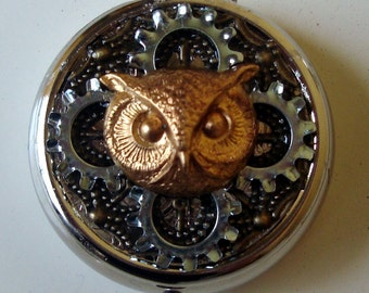 Victorian Steampunk Tic Tock Owl Pill Case Or Trinket Box