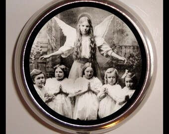Creepy Angel Pill box Sweetheartsinner Pillbox Case Holder Angelic Woman With Weird Kids Strange Oddity Vitamin Medicine Box Guitar Picks