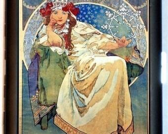 Mucha Art Nouveau Cigarette Case Wallet Edwardian Goddess Boho Bohemian Gypsy Wearing Crown Business Card Credit Card ID Holder