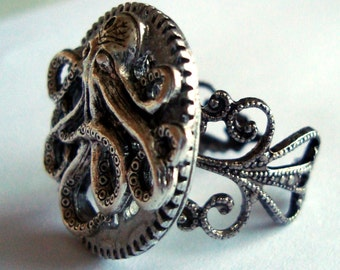 Victorian Steampunk Ring THE OCTOPUS and the MACHINE Gear Adjustable