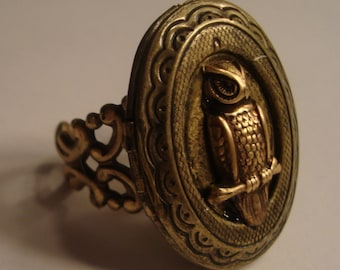 Victorian Steampunk THE OWLS HAVE It Oval Locket Ring Brass Owl New Adjustable Ring Uni-sex