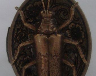 Victorian Steampunk Insecticus Romanticus Brass Beetle Locket Adjustable Uni-sex Ring NEW