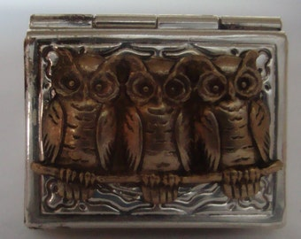 Victorian Steampunk Owl Trio Silver Rectangle Locket Ring