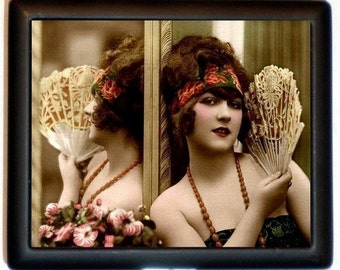 Art Deco Flapper Cigarette Case Holding Mirror Jazz Age 1920's Roaring 20's Pin Up ID Business Card Credit Card Holder Wallet