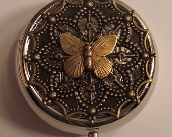 Victorian Butterfly Pill Case Or Trinket Box Style One Pill Box