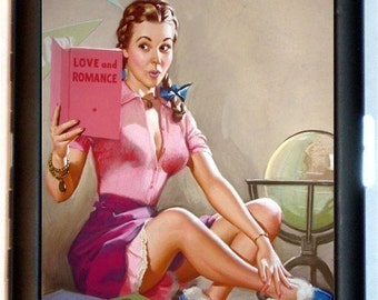Pin up Reading Romance Book Cigarette Case Business Card Holder Wallet