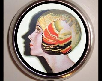 Flapper Pinup Pill box Pillbox Case Holder New Art Deco Roaring 20's Jazz Age Glam Pin Up Gal Profile Holds Guitar Picks Trinket Box