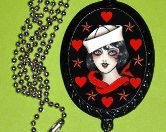 Sweetheartsinner Sailor gal with Red Hearts and Nautical stars Handmade Handcasted Metal Pendant handpainted black and ballchain Necklace with Pewter Lead Free Anchor Charm