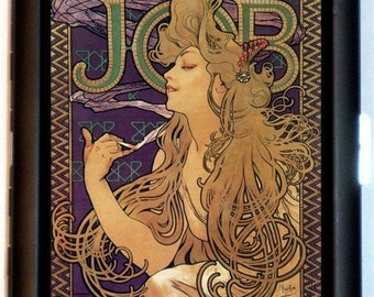 Alphonse Mucha Cigarette Case JOB Advertising Poster Art Illustration Wallet or Business Card Case Art Nouveau Edwardian Era
