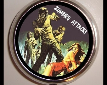 Zombie Attack Pill box Living Dead Psychobilly Pillbox Case Holder NEW