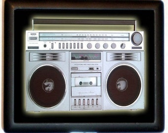 Boombox Retro 80's Cigarette Case 1980's Cassette Tape Player Old School Pop Art Techie ID Business Card Credit Card Holder Wallet