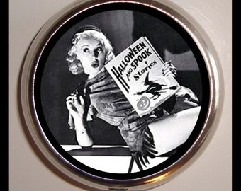 Retro Witch Pill box Pillbox Case Holder Sweetheartsinner 1950's Pinup Pin Up Halloween Gal Trinket Box Holds Guitar Picks Other Small Items