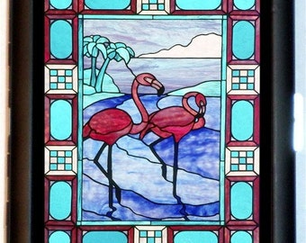Stained Glass Flamingos Cigarette Case or ID Business Card Holder Wallet Pink Flamingos Art
