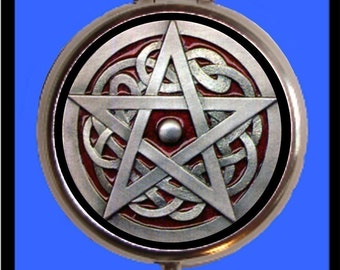 Wicca Pentagram Pill Box Pillbox Case Wicca Witch Occult Spirituality Metaphysical Witches Paganism Pagan Goth Gothic Holds Vitamins