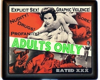Adults Only Movie Poster Cigarette Case Business Card Holder Wallet Parody Nudity Explict Sex Graphic Violence Profanity Campy Kitsch