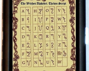Witches Alphabet Cigarette Case Business Card Case Wallet Wicca Wiccan Theban Alphabet Runes of Honorius