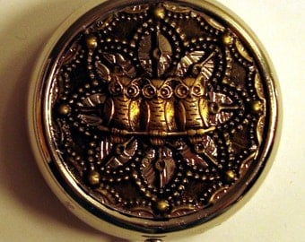 Victorian Steampunk The Owls Have It Pill Case Or Trinket Box Brass OWL New