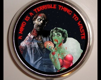 Zombie Couple A Mind is a Terrible Thing to Waste Pill Box Case Psychobilly