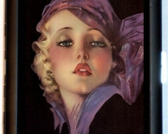 Flapper Art Deco Cigarette Case Roaring 1920's in Gypsy Scarf Art Jazz Age Pin Up Girl ID Business Card Credit Card Holder Wallet