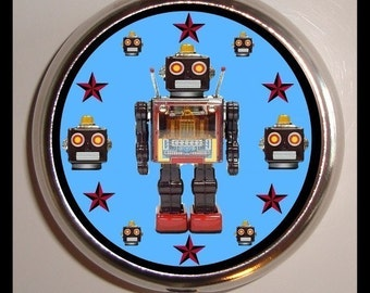 Retro Robot Pill Box Pill Case Holds Vitamins, medicine, pills, trinkets, buttons, sewing supplies, birth control case